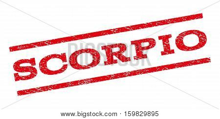 Scorpio watermark stamp. Text tag between parallel lines with grunge design style. Rubber seal stamp with unclean texture. Vector red color ink imprint on a white background.