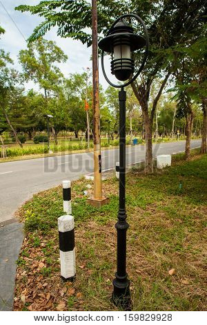 Street lamppost on the street in Thailand