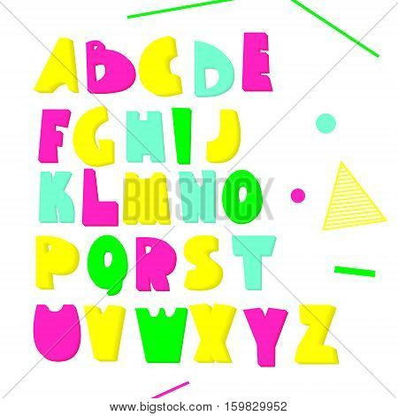 Neon 3d font. Bright volumetric letters isolated on white. Vector alphabet