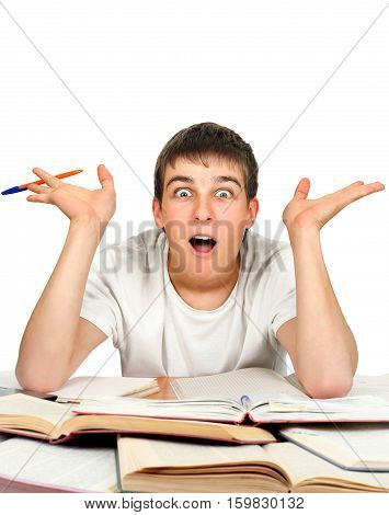Surprised Student on the School Desk Isolated On the White Background