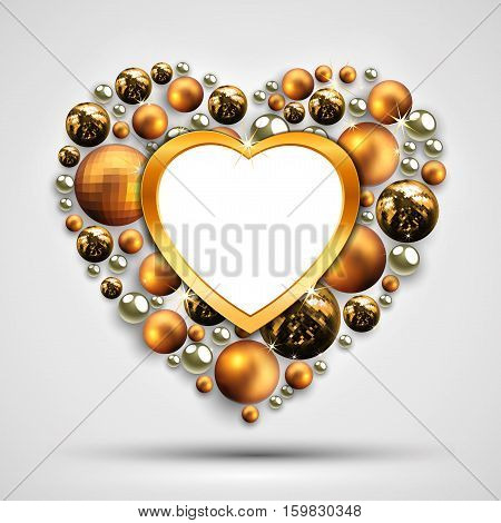 Christmas wreath in the shape of a heart, decorated with Christmas balls