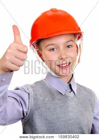Kid in Hard Hat with Thumb Up Gesture Isolated on the White Background