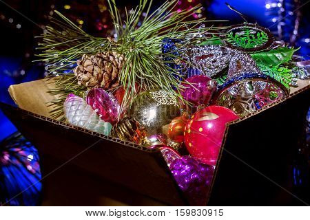 Decorations for the Christmas tree in a box