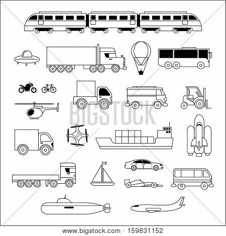 Transport icon set. Plane, car, truck, ship, train, ufo in black and white lineart style. Vector icon isolated on white background.
