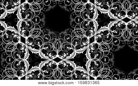 seamless texture with decorative ornament on a black background