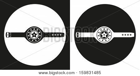 Championship belt icon. Silhouette championship belt on a black and white background. Sports Equipment. Vector Illustration