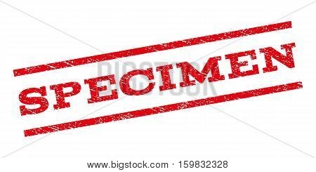 Specimen watermark stamp. Text tag between parallel lines with grunge design style. Rubber seal stamp with dust texture. Vector red color ink imprint on a white background.