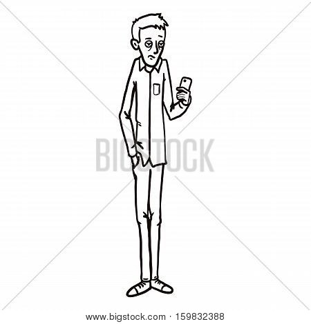 Vector Line Art Character - Bored Man With Cell Phone