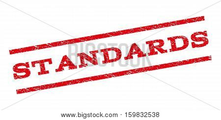 Standards watermark stamp. Text tag between parallel lines with grunge design style. Rubber seal stamp with unclean texture. Vector red color ink imprint on a white background.