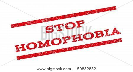 Stop Homophobia watermark stamp. Text caption between parallel lines with grunge design style. Rubber seal stamp with unclean texture. Vector red color ink imprint on a white background.