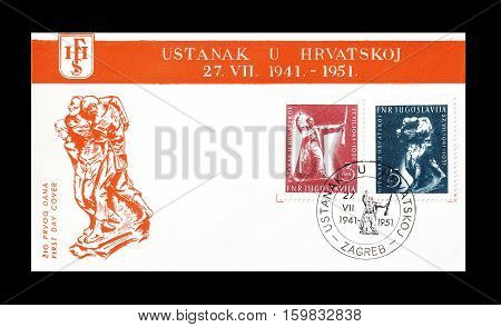 YUGOSLAVIA - CIRCA 1951 : Cancelled First Day Cover Letter printed by Yugoslavia, that shows Raising in Croatia.