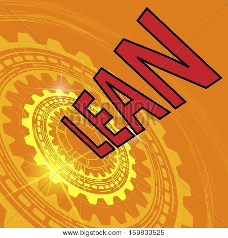 Lean strategy background. Orange industrial background with gear and red title Lean
