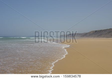 View Of Beautiful Bordeira Beach, Famous Surfing Place In Algarve Region, Atlantic Ocean, Portugal