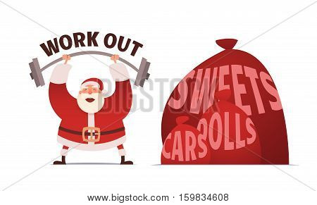 Santa Claus workout in GYM. Merry Christmas and Happy New year. Vector Illustration