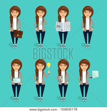 The concept of the character of the young business woman. Set business woman characters.