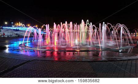 PENZA RUSSIA - AUGUST 29 2016: Cascade fountains in the pedestrian area Sputnik in Penza