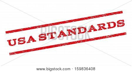 USA Standards watermark stamp. Text caption between parallel lines with grunge design style. Rubber seal stamp with unclean texture. Vector red color ink imprint on a white background.