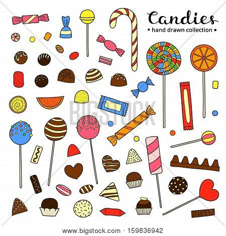 Collection of hand drawn colorful candies including chocolate, jelly, lolly, fruit isolated on white background.