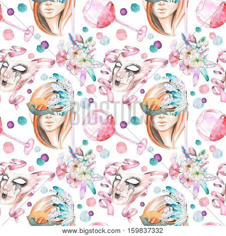 Masquerade theme seamless pattern with female image in a mask, wineglasses and masks in Venetian style, hand drawn on a white background