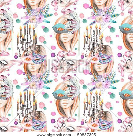Masquerade theme seamless pattern with female image in a mask, chandeliers with candles and masks in Venetian style, hand drawn on a white background