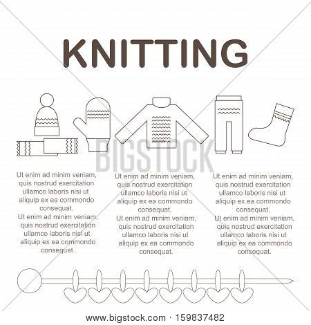 Article Template of knitted items. Knit garments. Vector illustration.