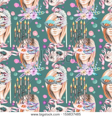Masquerade theme seamless pattern with female image in a mask, chandeliers with candles and masks in Venetian style, hand drawn on a dark green background