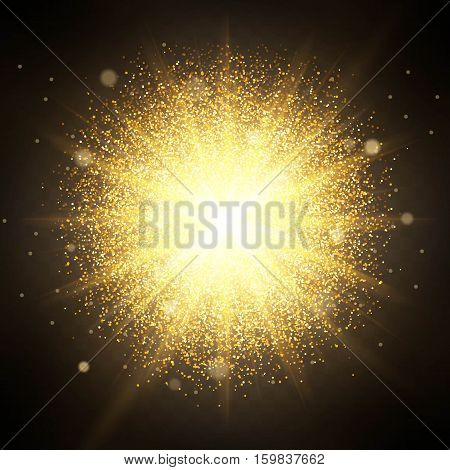 Effect of particles flying on top of the gold luster dust sparks luxury design rich background. The effect of sunlight illumination. Luxury golden texture.