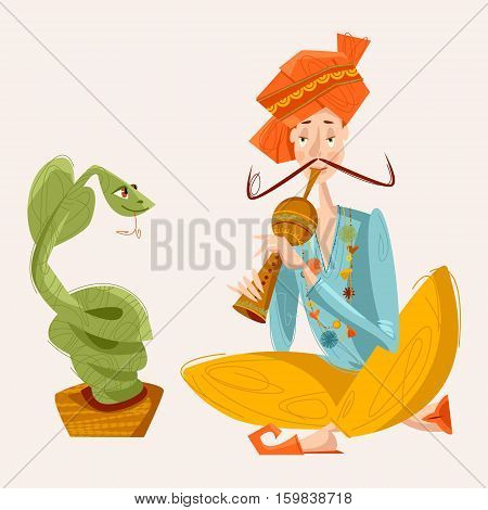 Indian snake charmer. Vector illustration. Cartoon, clip art