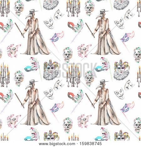 Masquerade theme seamless pattern with skulls, chandeliers with candles, plague doctor costume and masks in Venetian style, hand drawn on a white background