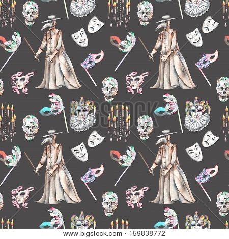 Masquerade theme seamless pattern with skulls, chandeliers with candles, plague doctor costume and masks in Venetian style, hand drawn on a dark background, in sepia color