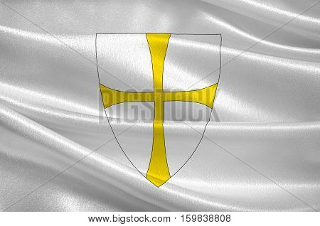 Flag of Nord-Trondelag is a county constituting the northern part of Trondelag in Norway. 3d illustration poster