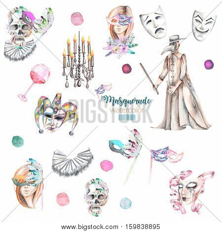 Masquerade theme set with female images in masks, design skulls in Venetian style, masks and plague doctor, hand drawn isolated on a white background