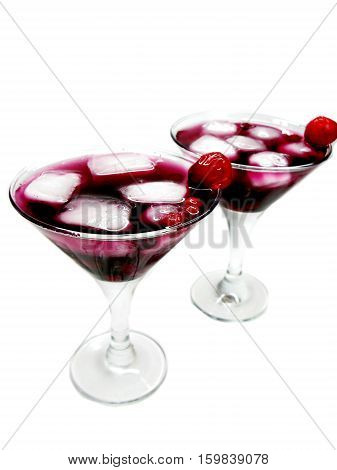 alcohol red liqueur cocktail with ice and cherry