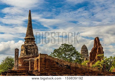 Ancient Ankor temple in Thailand with cloudy sky