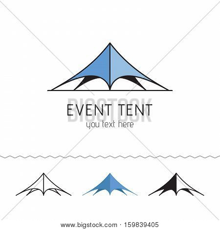 Logotype for rent tents agency. Event tent. Vector illustration.