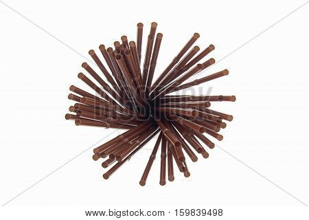 Brown plastic straws on white background, Brown straw in coffee shop