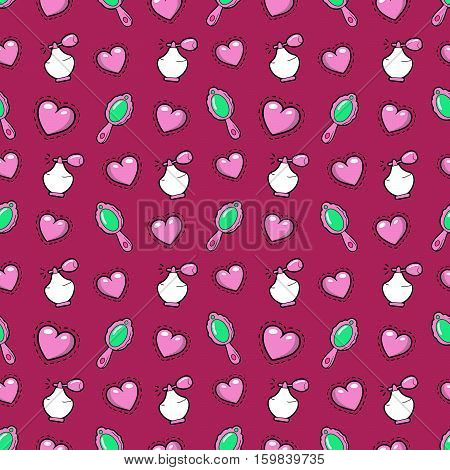 Little Girl Princess Seamless Background with Pink Hearts, Perfume and Mirror. Vector Pattern