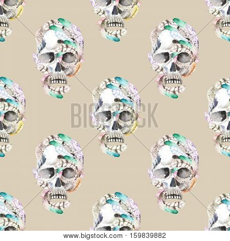 Masquerade theme seamless pattern with skulls in feathers, hand drawn on a gray background