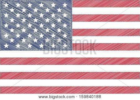 Flag of USA pencil drawing vector illustration.