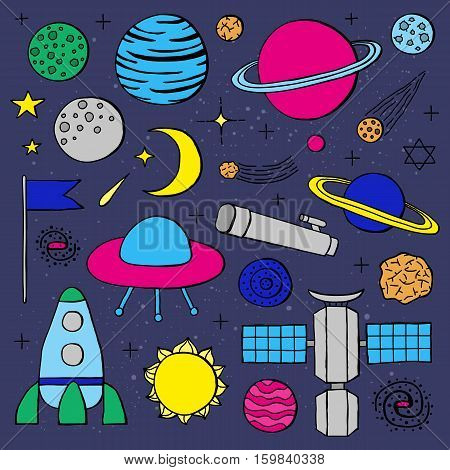 Set of hand drawn space icons including planets, stars, rocket, ufo, satellite, asteroid, moon, flag, telescope, sun, galaxy isolated on blue background.