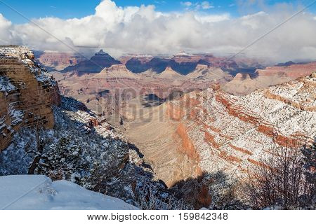 a winter landscape at the grand canyon south rim