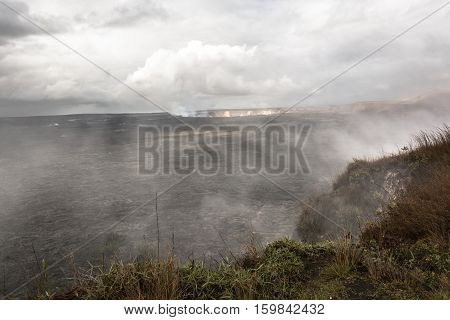 View of the smoke from  Kilauea Caldera in Big Island, Hawai