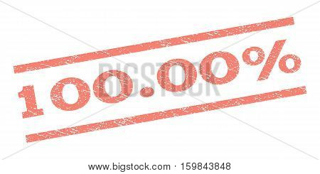 100.00 Percent watermark stamp. Text tag between parallel lines with grunge design style. Rubber seal stamp with dirty texture. Vector salmon color ink imprint on a white background.