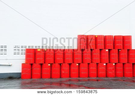 Red fuel tank two hundred liters and white wall