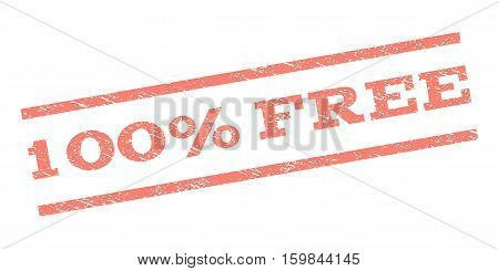100 Percent Free watermark stamp. Text tag between parallel lines with grunge design style. Rubber seal stamp with unclean texture. Vector salmon color ink imprint on a white background.