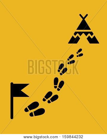The way to the camp. Footstep with flag and wigwam. Flat style .