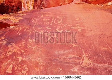 Petroglyphs In The Valley Of The Fire In Nevada, Usa