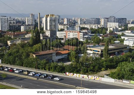 A residential district of contemporary bulgarian houses in city Sofia, Bulgaria