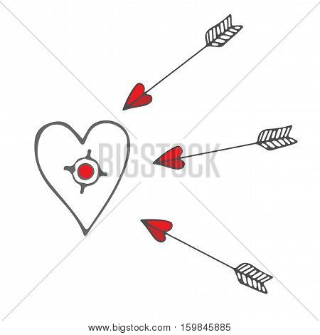 Isolated purpose with a heart and flying arrows. Vector illustration for Valentines day.