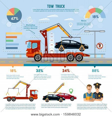 Car service infographic auto towing tow truck for transportation faults and emergency cars vector
